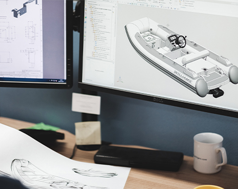 3D model of white boat on computer screen